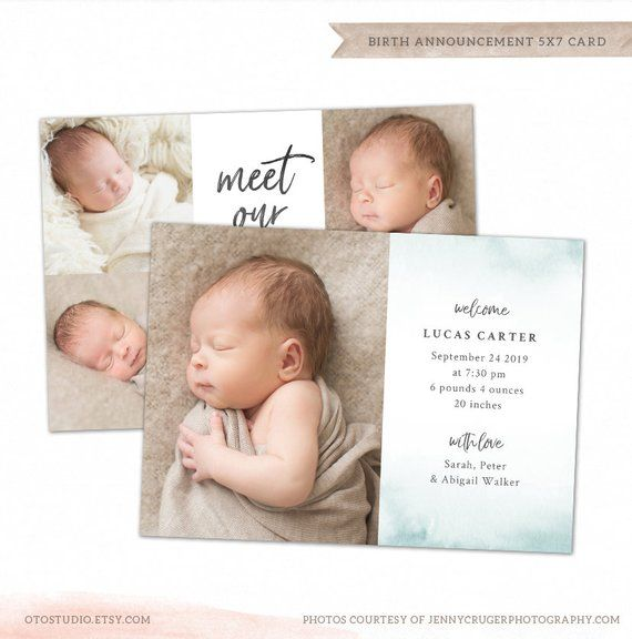 Birth Announcement Template - Baby Newborn Card Photoshop Template