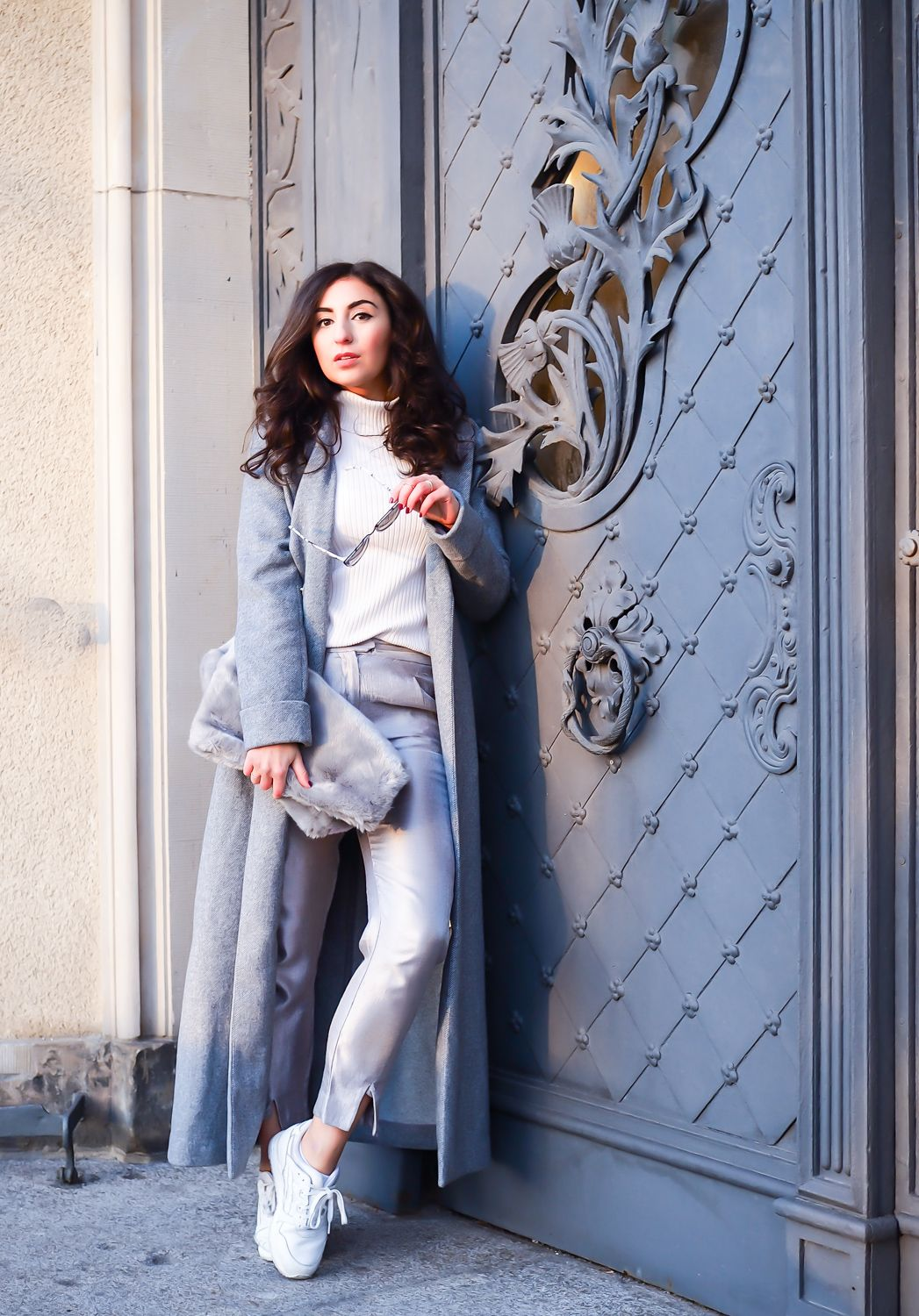 mint and berry long grey wool coat wintermantel lang streetstyle ...