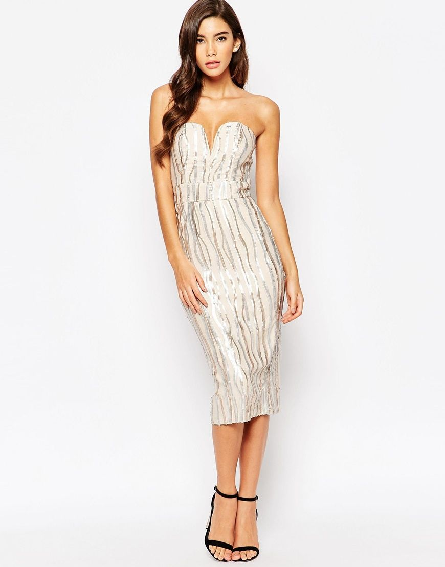 88f24ed517 TFNC Plunge Sweetheart Pencil Dress In All Over Sequin