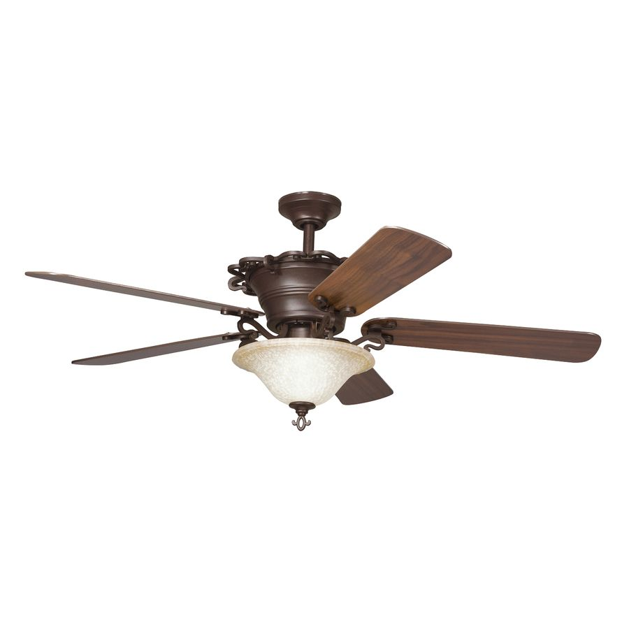 Kichler Lighting Wilton 54 In Carre Bronze Downrod Mount Indoor Ceiling Fan With Light Kit And Remote 5 Blade Ceiling Fan With Light Ceiling Fan Bronze Ceiling Fan