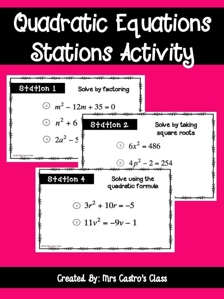 Quadratic Equations Stations Activity Algebra I Pinterest