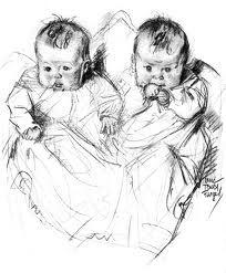 Twin pencil sketch   Baby artwork, Baby sketch, Baby drawing