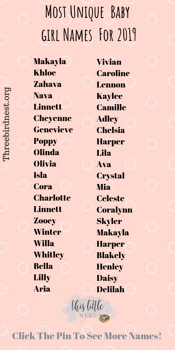 The Prettiest , Most Unique Baby Girl Names For 2020