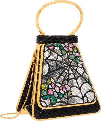 Judith Leiber Full Bead Crystal Spiderweb Top Handle Minaudière Evening Bag.