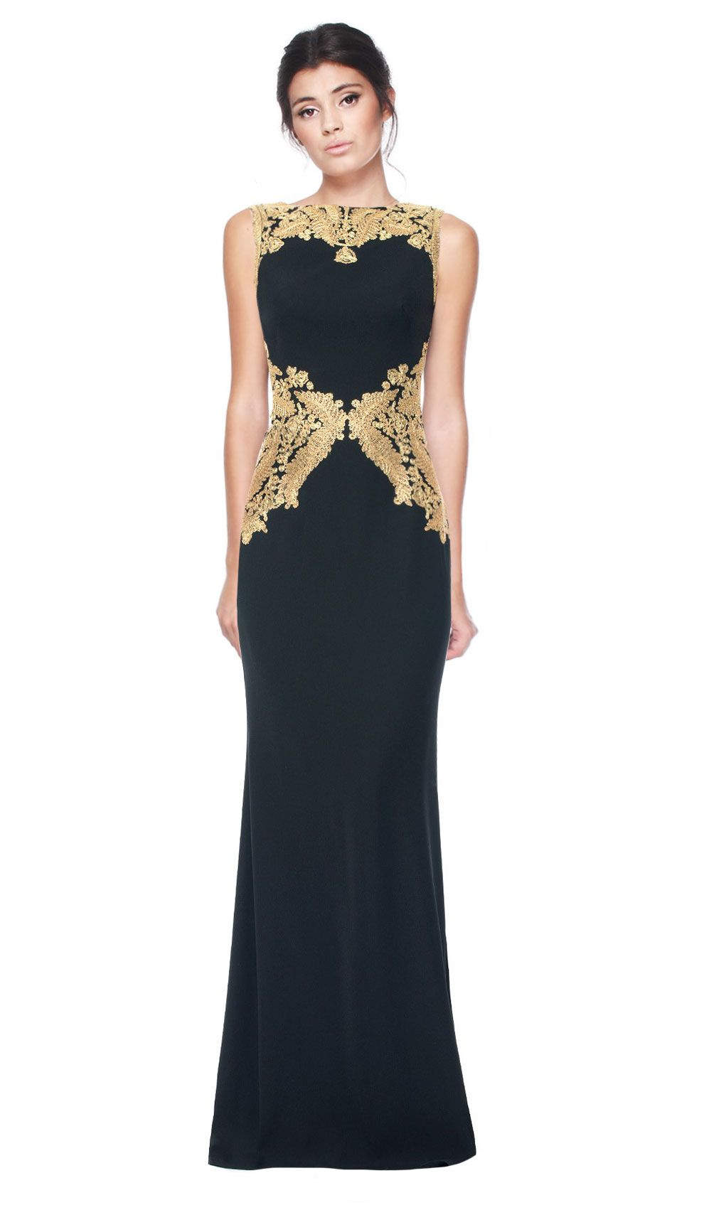Tadashi Shoji Gold Embroidered Shift Gown   Chic by Choice   Hire ...