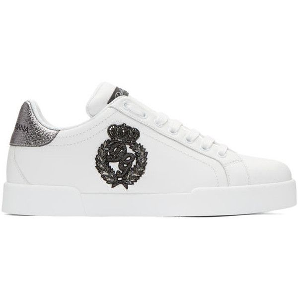 more photos 0ea1f 09c98 Dolce and Gabbana White Crown Logo Portofino Sneakers ( 770) ❤ liked on  Polyvore featuring men s fashion, men s shoes, men s sneakers, white, mens  metallic ...