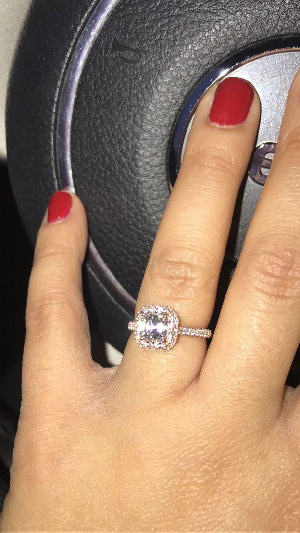 c2c50cae2c394 14K Rose Gold Falling Edge Pavé Engagement Ring with Princess Cut ...