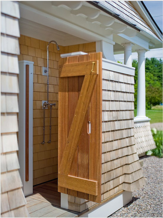 Good Stained Wooden Shower Enclosure, Outside Shower, Outdoor Beach Shower,