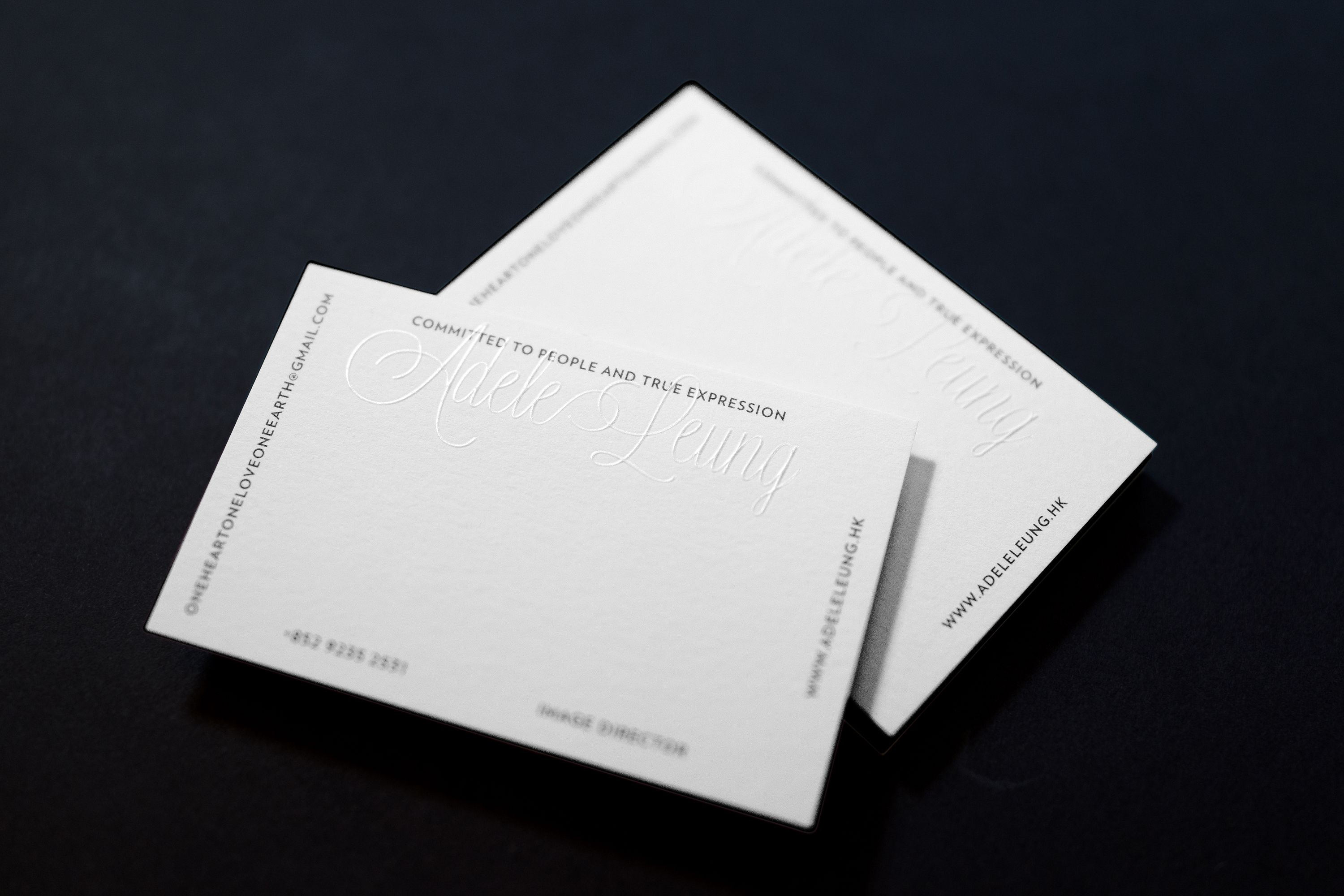 Adele Leung blind embossed business card designed by Studiomuch