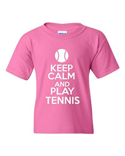 Keep Calm And Play Tennis Statement Novelty Youth Kids T-Shirt Tee (Medium, Pink) >>> Want to know more, click on the image.