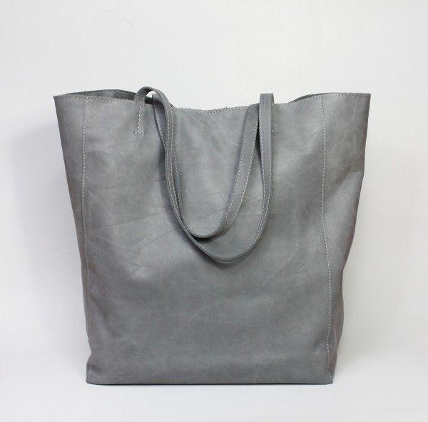 Nordic Shopping Bag Grey Leather Zuzia Gorska Bags Grey Leather Shopping Bag