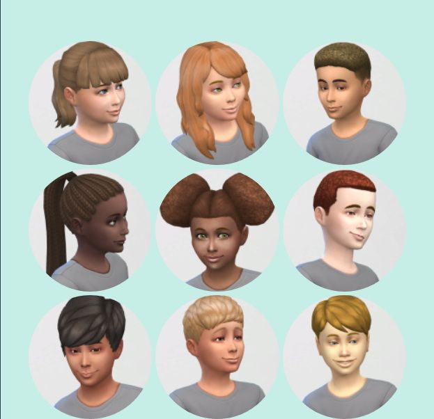 Vicarious Living: All Child Hairstyles retextured ~ Sims 4 Hairs