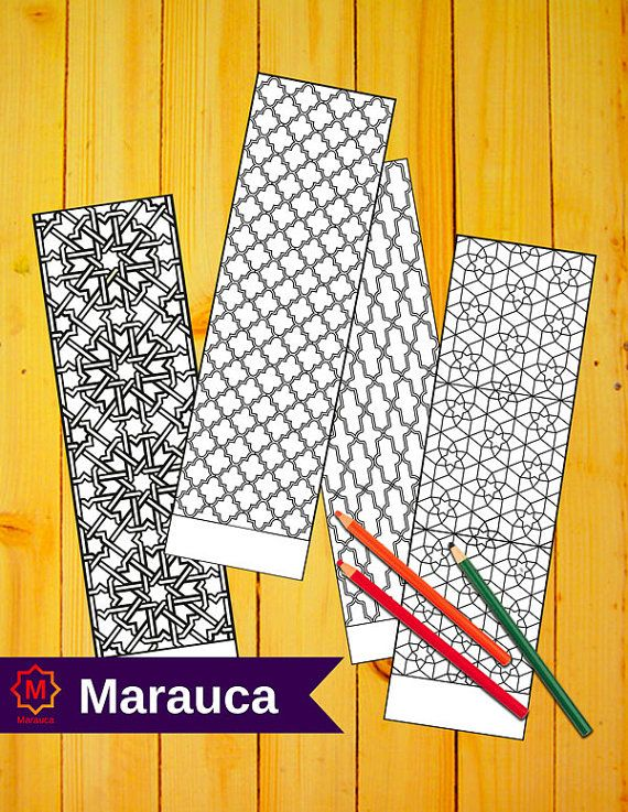 4 bookmarks coloring pages printable moroccan mosaic islamic art arabic mosaic coloring bookmark mosaic tile morocco illustration