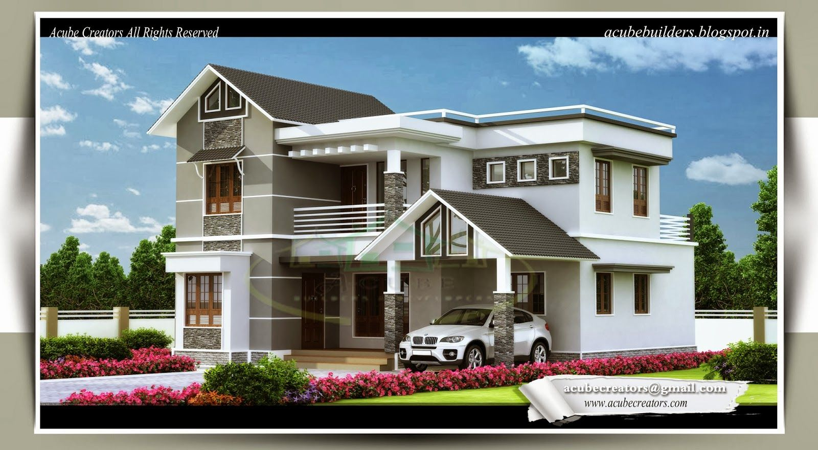 2 Storey Sloping Roof Home Plan   Kerala Home Design   Architecture House  Plans | Architecture | Pinterest | Kerala, Architecture And House