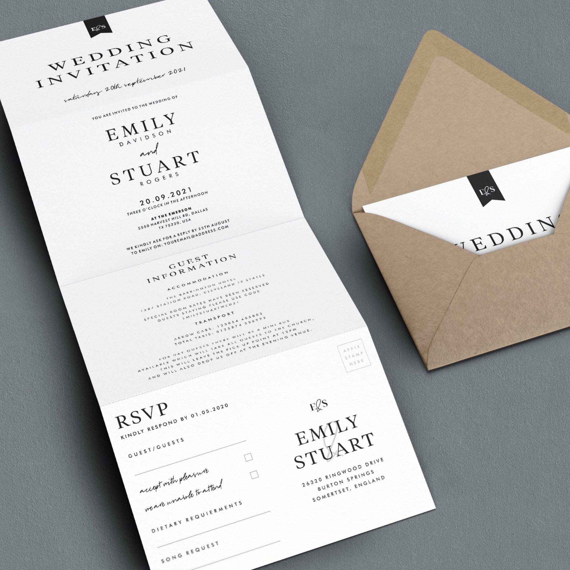 Wedding Invitation All In One Wedding Invite Simple Wedding Etsy In 2020 Folded Wedding Invitation Wedding Invitations Rsvp Simple Wedding Invitations