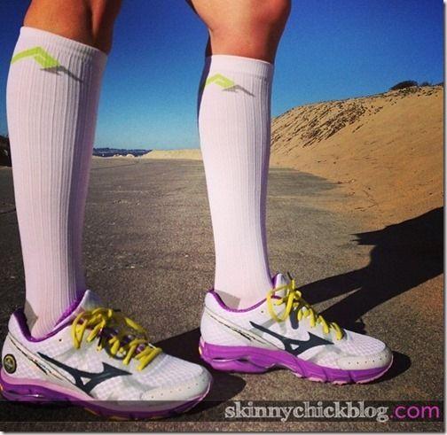 Mizuno Wave Rider 17 + Pro Compression socks are a match made in runner heaven.