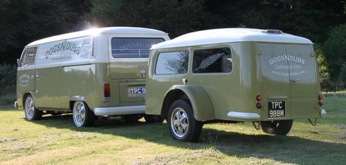 Late bay twin slider panel van & rare westfalia trailer - ultimate combo