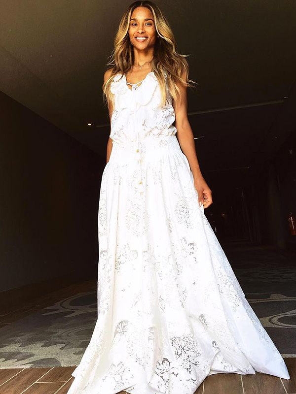 Ciara Wore Another Custom Roberto Cavalli Gown To Her Rehearsal Lunch Lunch Dresses Rehearsal Dinner Dresses Wedding Day Robes