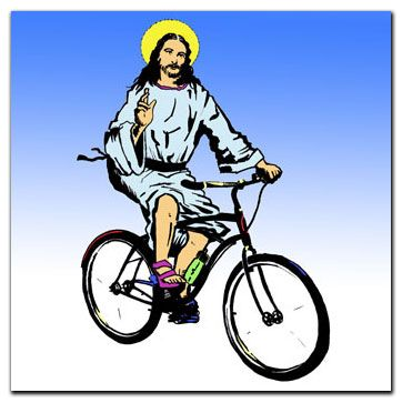 Jesus on a bicycle