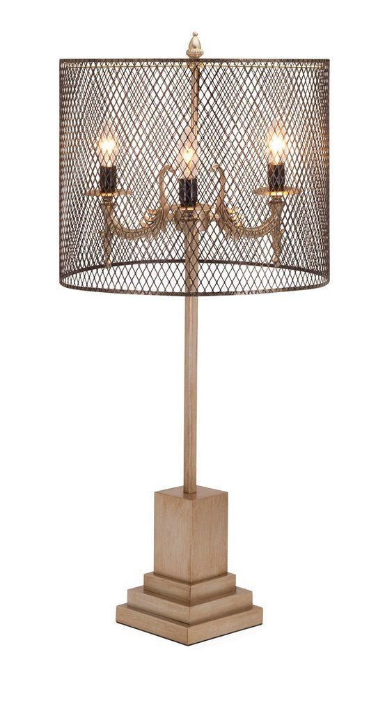 Details In True Ecclectic Fashion Designer Becky Fletcher Brings You This Three Light Table Lamp Featuring A Square Decorative Base And A