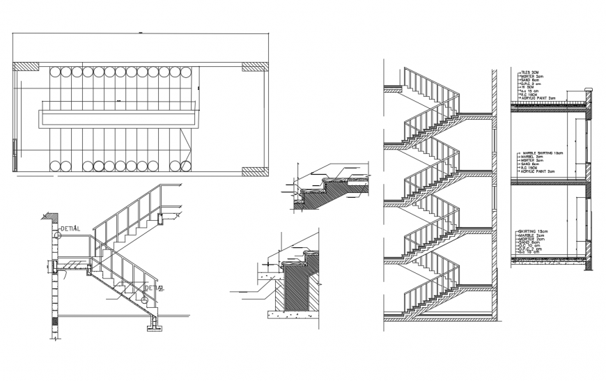 Staircase Construction Plan And Elevation 2d View Autocad File Construction Plan Construction Detailed Drawings