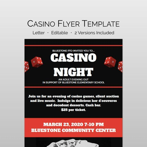 Casino Night Flyer and School fundraiser flyer template for school