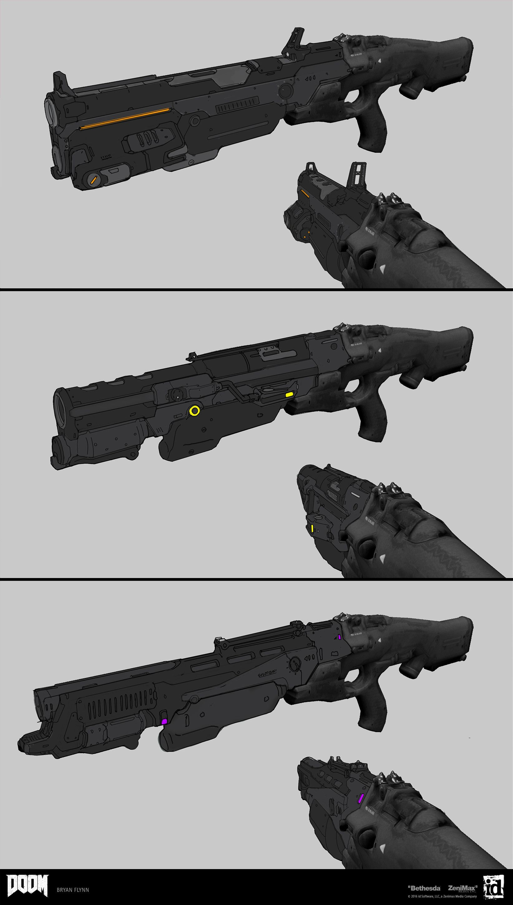 ArtStation - Doom Combat Shotgun Mods, Bryan Flynn | Weapons