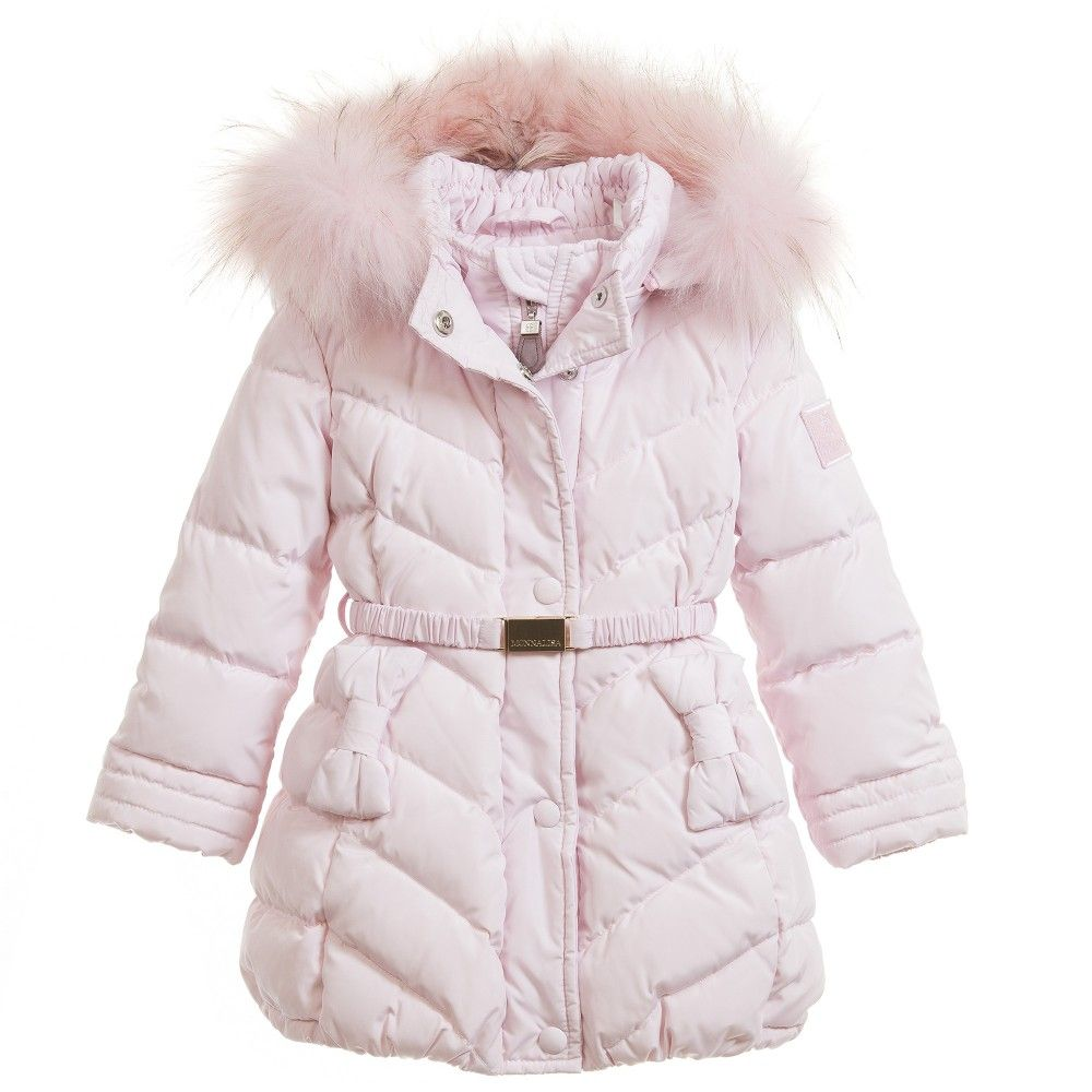 Baby Girls Pink Down Padded Coat & Fur Trim, Monnalisa, Girl ...