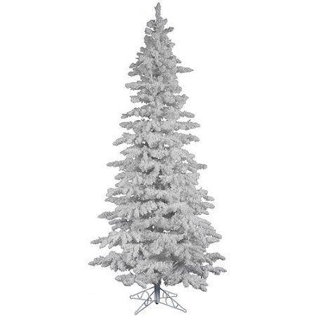 vickerman 25271 75 x 43 flocked white spruce slim christmas tree a893575 walmartcom