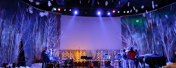 Christmas stage design ideas - painted twigs from the yard + some ...