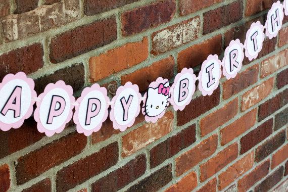 Hello Kitty Banner, Hello Kitty Happy Birthday Banner - Rocky Mountain Mama on Etsy