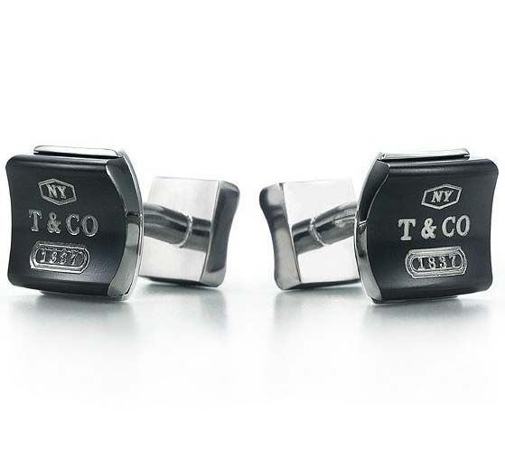 Tiffany & Co Outlet 1837 Titanium Square Cuff Link in Midnight