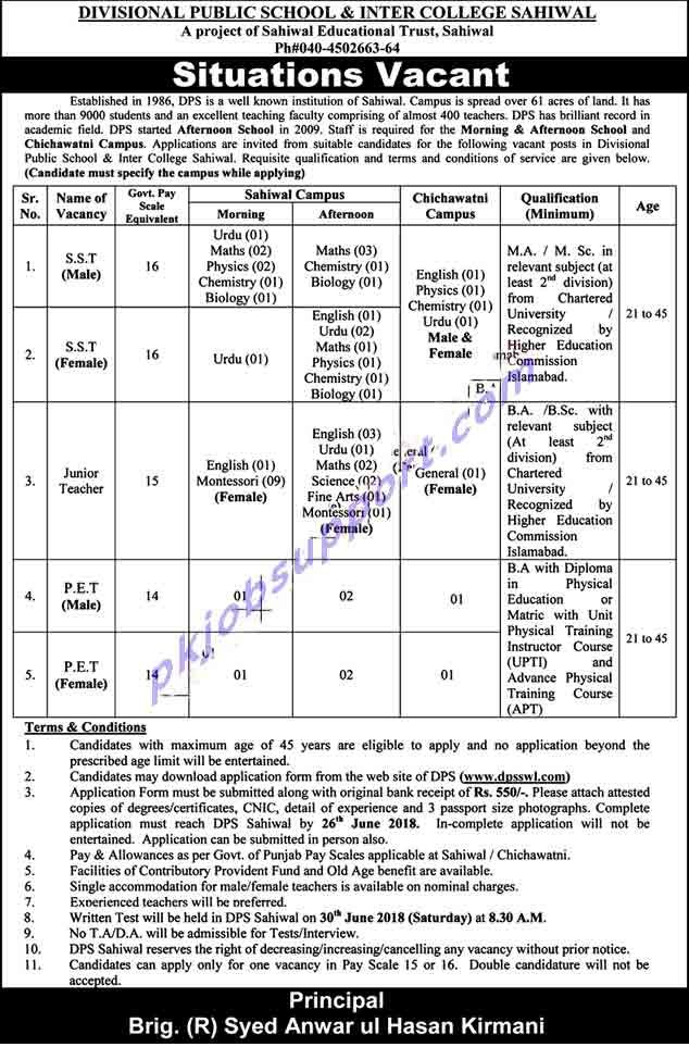 Terms Conditions For Dps Sahiwal Jobs Candidates With A Maximum Age