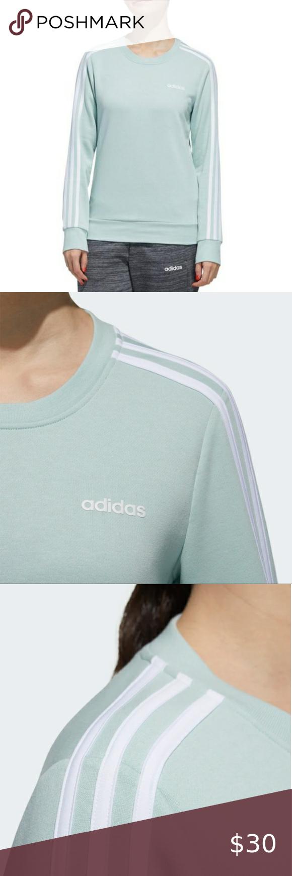 Adidas French Terry 3 Stripes Sweatshirt Small Striped Sweatshirts White Adidas Sweater Cozy Pullover [ 1740 x 580 Pixel ]
