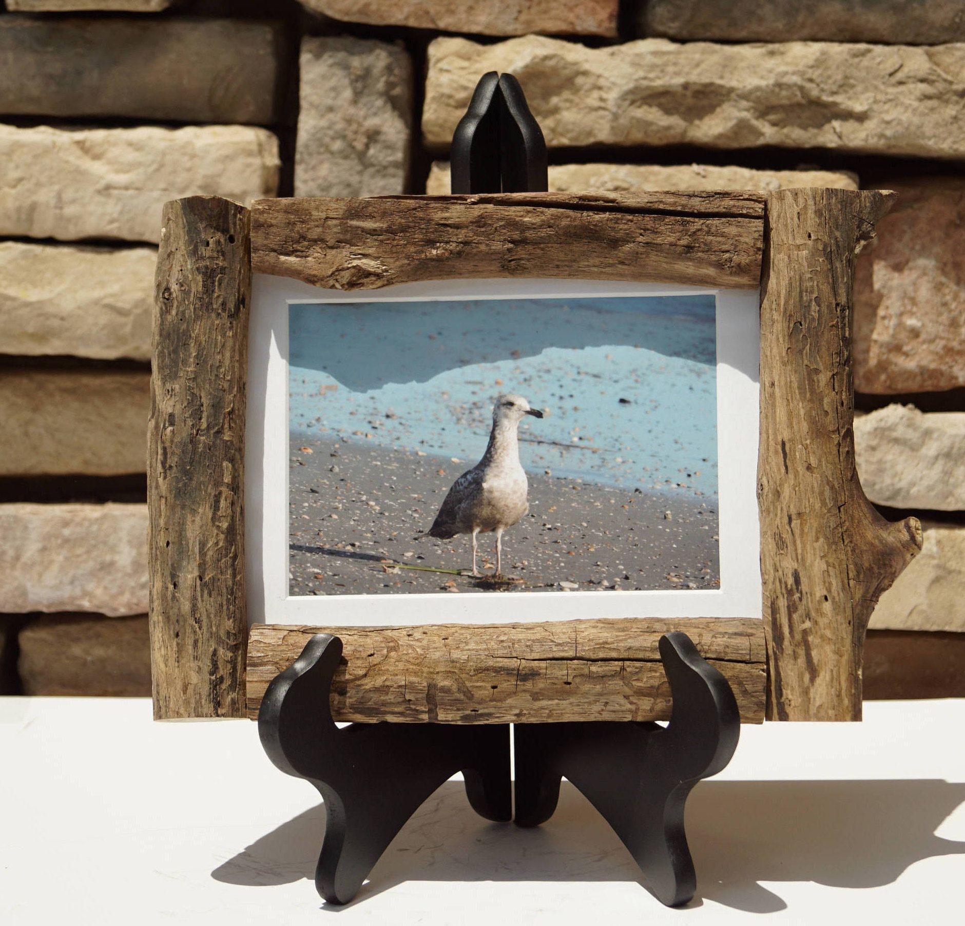 9x6 No Worries - Wonderful Seagull Photo in Handcrafted Driftwood ...