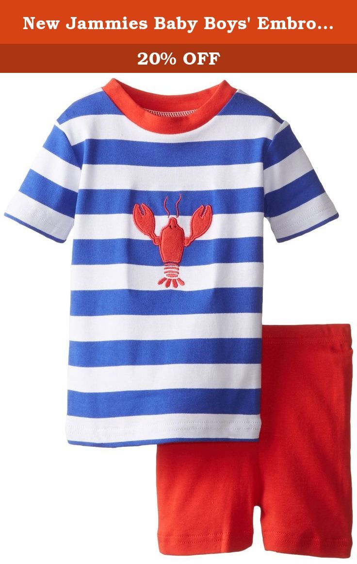 new jammies baby boys' embroidered lobster organic baby pajama  - new jammies baby boys' embroidered lobster organic baby pajama short setred