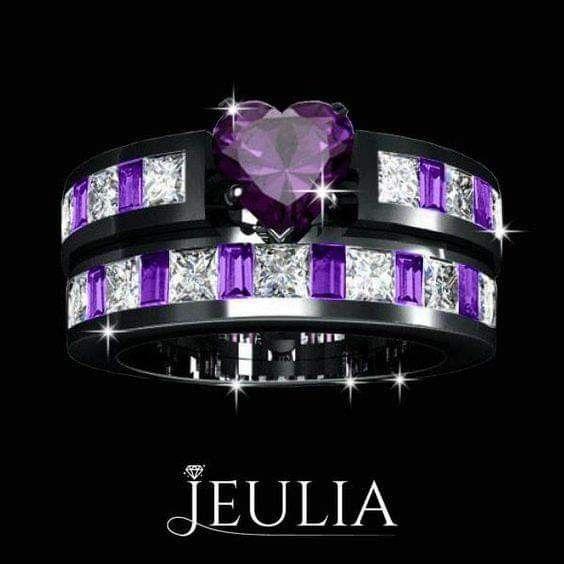 Junxin European Style Purple Amethyst Two Pieces Black Couple