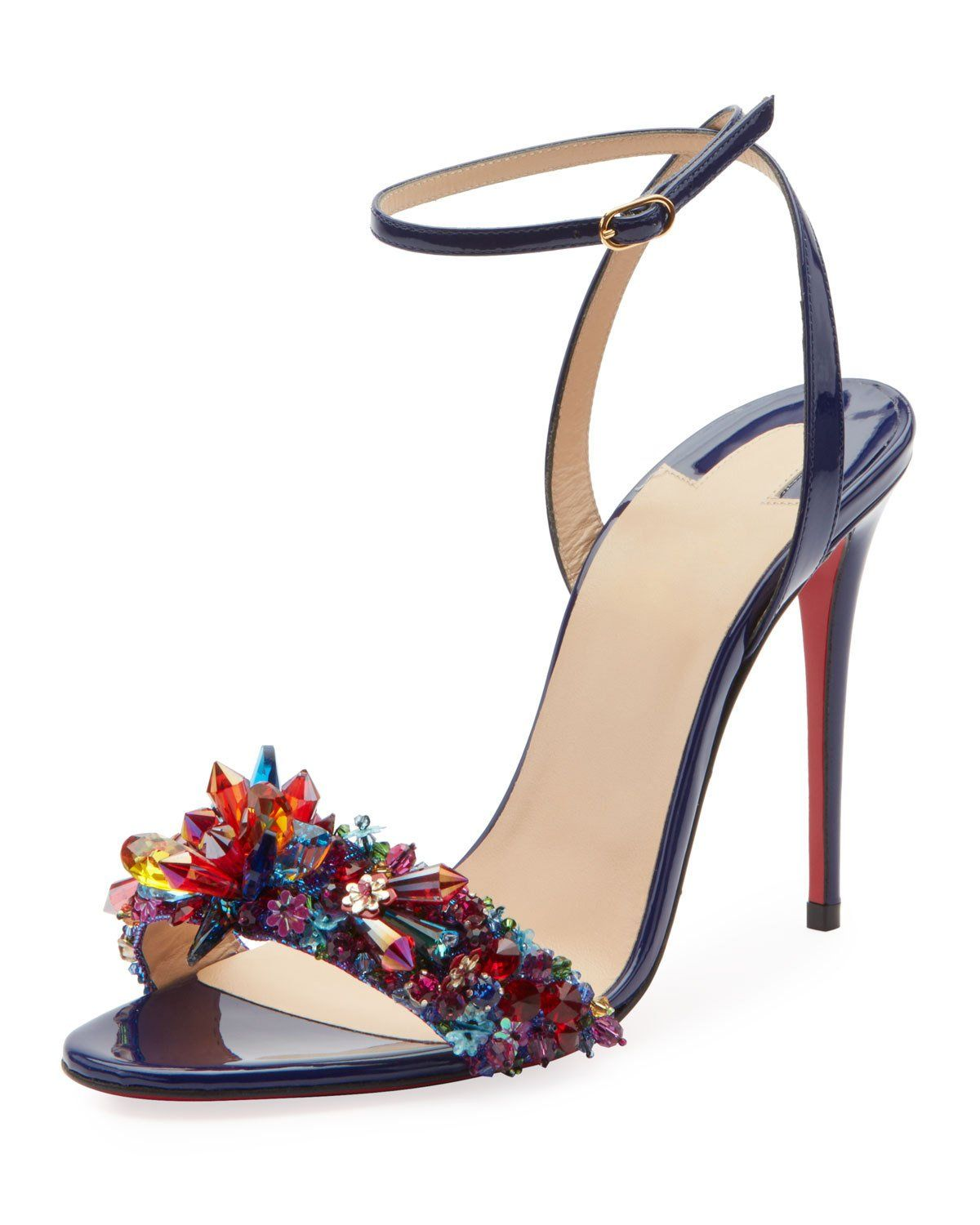 d37aff9a67c3 Christian Louboutin Multiqueen Crystal Patent Red Sole Sandals in ...