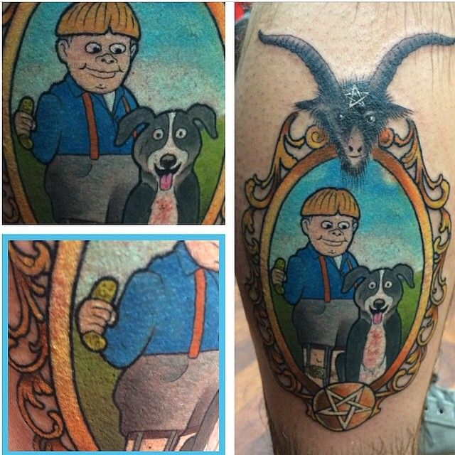 Tommy Pickles Ice Cream Tattoo On His Face: Mr. Pickles And Tommy Cartoon TV Show Character Tattoo In