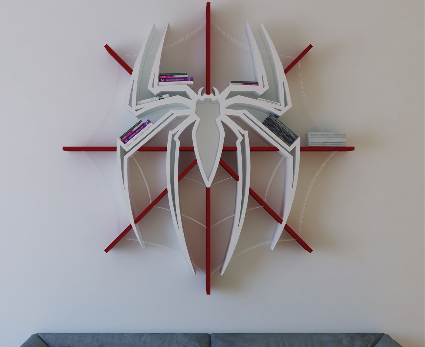 Spider Man Logo Shelf Interrior Design Bookshelf