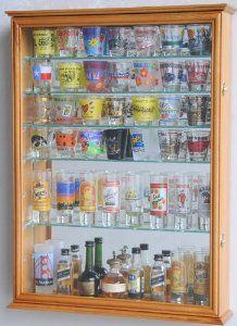 Large Mirror Backed And 7 Gl Shelves Shot Gles Display Case Holder Cabinet Black Home Kitchen 25 X 17 5 3 75