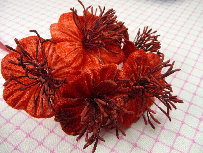 SALE Velvet Millinery Flowers Scarlet Red Poppies Yo Yo for Hats, Fascinators, Bouquets by APinkSwan on Etsy https://www.etsy.com/listing/124992380/sale-velvet-millinery-flowers-scarlet