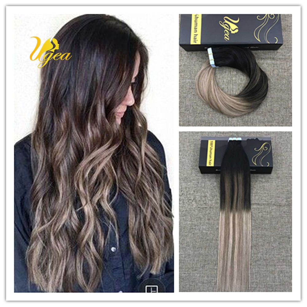 Ombre Balayage Brown mix Dark Ash Blonde Remy Tape in Real uman Hair