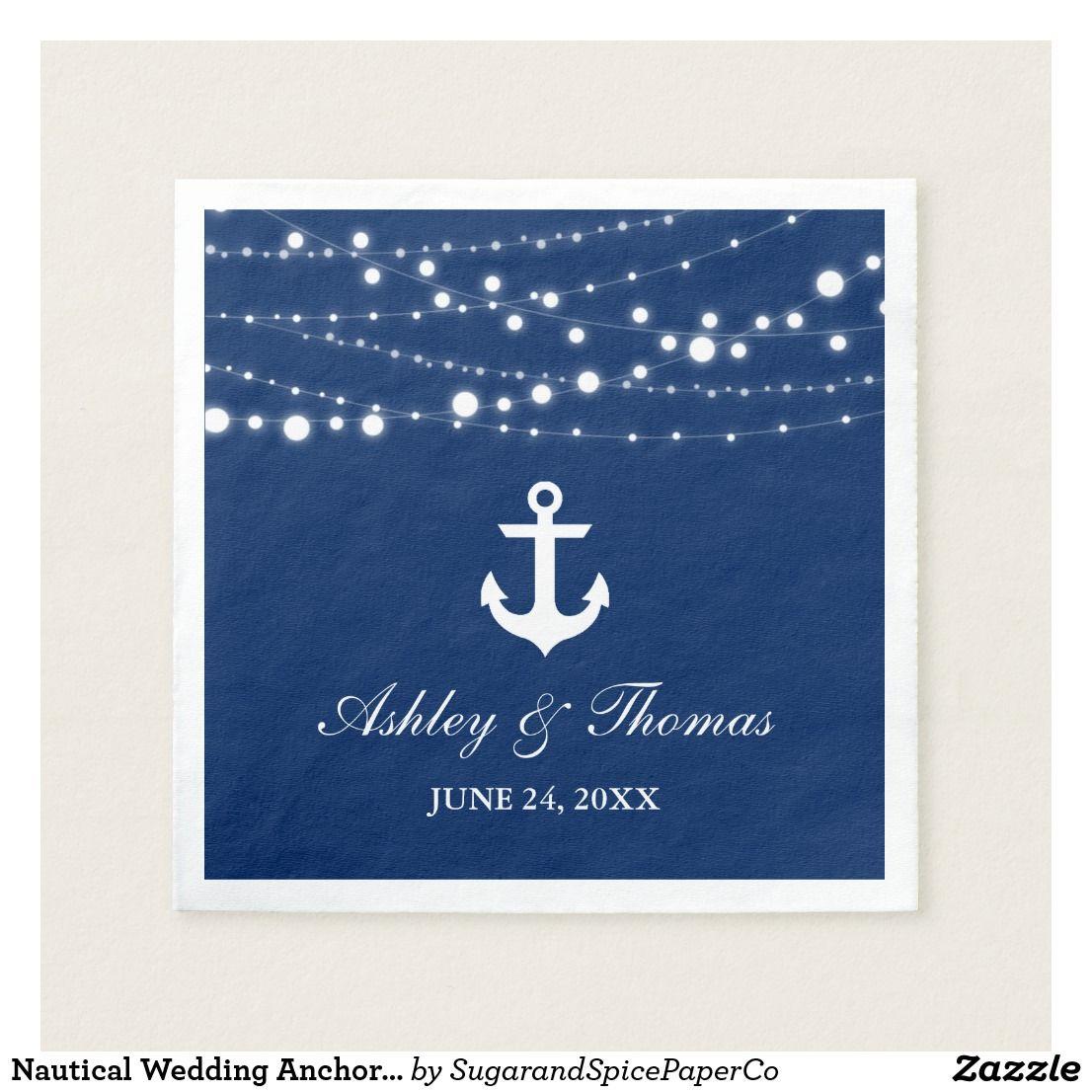 Nautical Wedding Anchor String Lights Navy Blue C Napkin