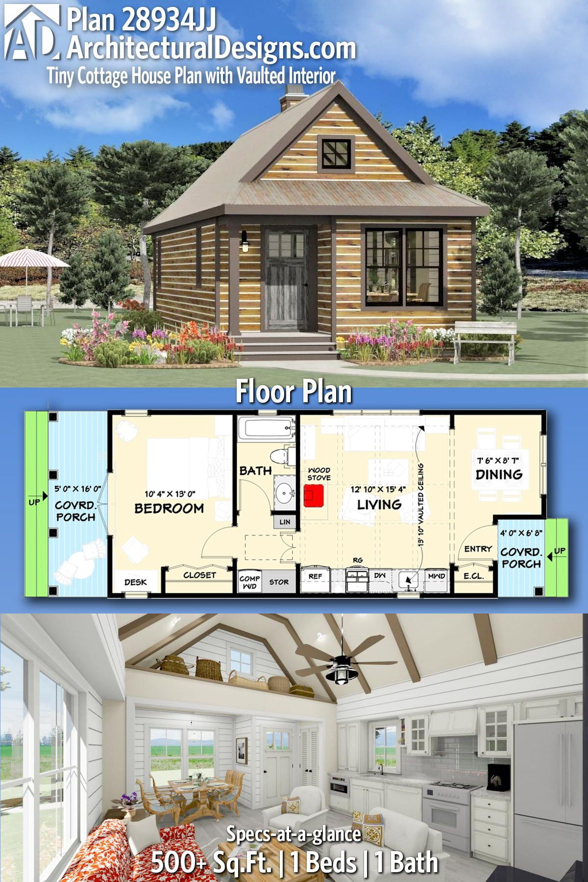 Plan 28934JJ: Tiny Cottage House Plan with Vaulted Interior