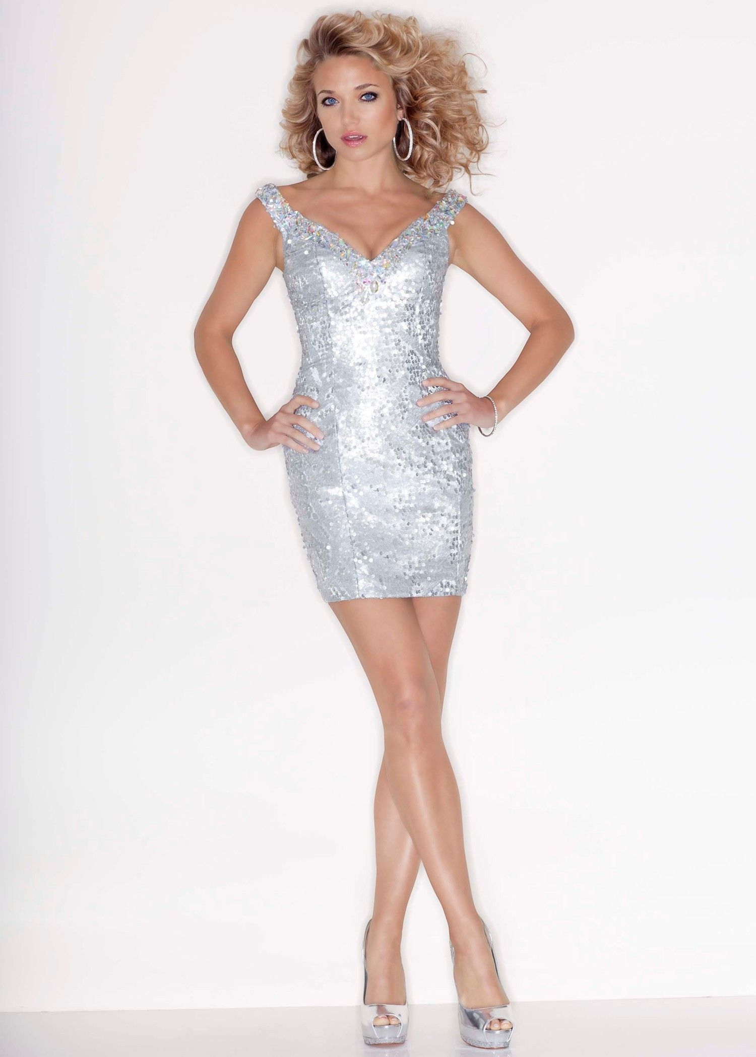 Beaded Silver Sequins Prom Dress - Sticks and Stones by Mori Lee ...