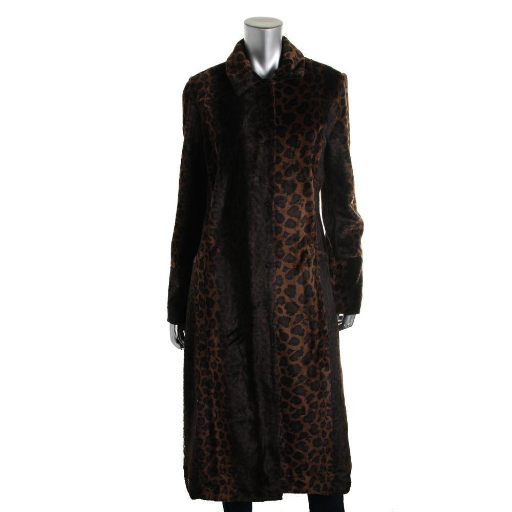Free People Womens Faux Fur Animal Print Coat