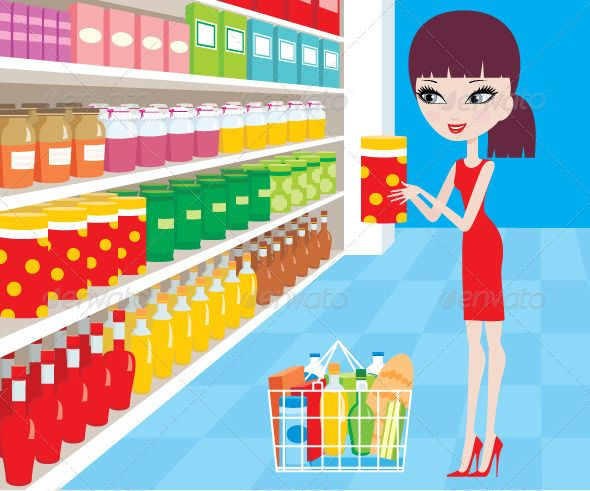 Realistic Graphic DOWNLOAD (.ai, .psd) :: http://vector-graphic.de/pinterest-itmid-1001661242i.html ... Woman Cartoon in a Supermarket ...  aisle, assortment, basket, boxes, buy, food, foodstuffs, fresh, grocery, healthy, illustration, interior, joy, lady, lifestyle, market, products, shop, store, supermarket, woman, young  ... Realistic Photo Graphic Print Obejct Business Web Elements Illustration Design Templates ... DOWNLOAD :: http://vector-graphic.de/pinterest-itmid-1001661242i.html