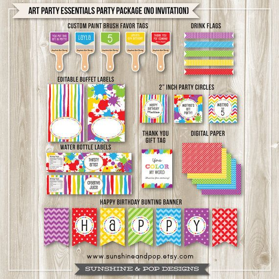 Art Party Rainbow Party Essentials Package water bottle labels