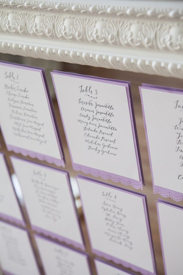 This is a cool idea doing the seating chart on a mirror!